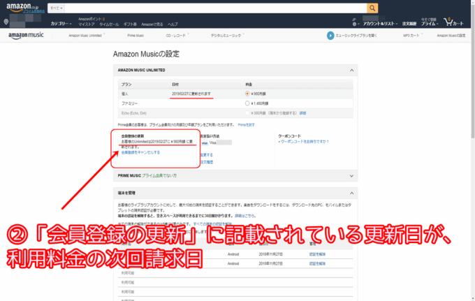 AmazonUnlimitedの請求日確認方法